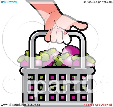 Clipart of a Hand Carrying a Shopping Basket Full of