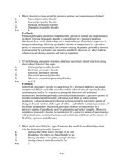 Chapter 18- Personality Disorders - 1 Which disorder is